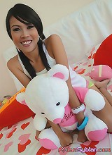 Big eyed thai cutie strips in her bedroom