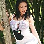Busty Nancy Ho Strips Denim Skirt Outdoors
