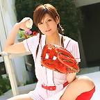 Deliciously cute asian babe posing in a skimpy baseball uniform