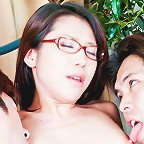 Mizuki Ogawa Asian in stockings has vagina fondled by two fellows