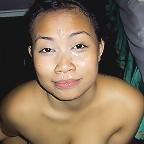 Busty amateur babe Seri sucks balls and cock then gets a facial